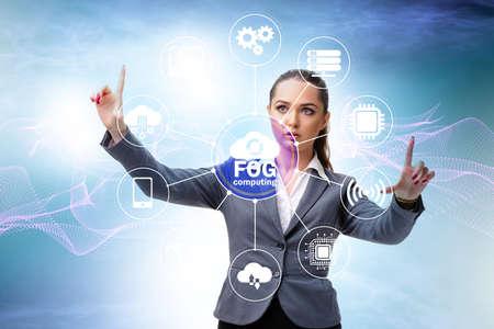 Photo pour Businessman in edge and fog computing concept - image libre de droit