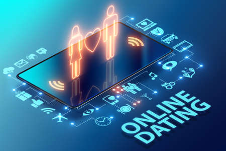 Photo pour The concept of online dating and matching - 3d rendering - image libre de droit
