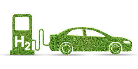 Photo pour Hydrogen car concept - 3d rendering - image libre de droit