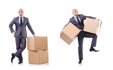 Photo for Businessman with box isolated on the white background - Royalty Free Image