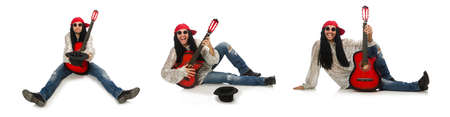 Photo for Male musician with guitar isolated on white - Royalty Free Image