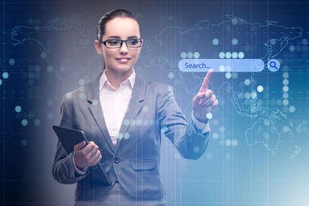 Photo pour Search concept with businessman pressing button - image libre de droit