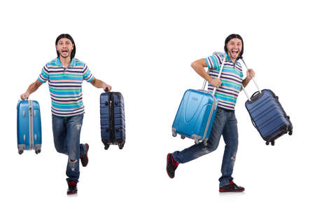 Photo pour Young man travelling with suitcases isolated on white - image libre de droit