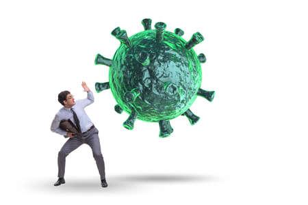 Photo pour Businessman in fear of recession due to coronavirus - image libre de droit