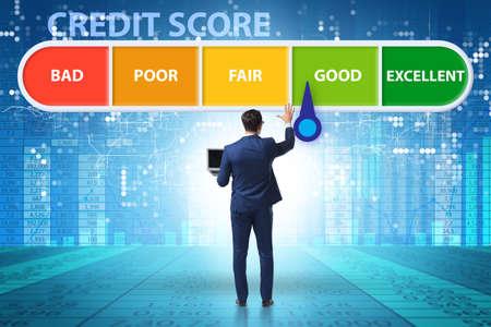 Photo pour The businessman in credit score concept - image libre de droit