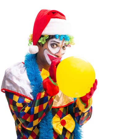 Photo pour Young funny clown comedian isolated on white - image libre de droit