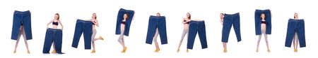 Photo pour Woman with large jeans in dieting concept - image libre de droit