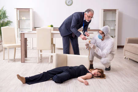 Photo for Forensic experts at the crime scene - Royalty Free Image