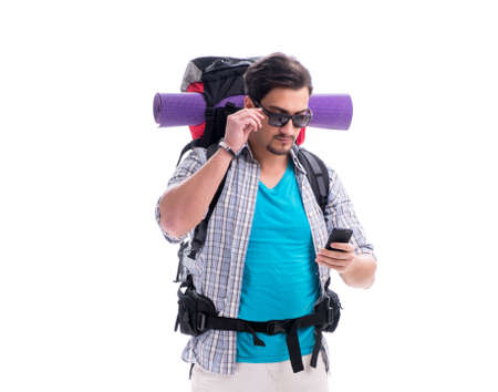 Photo pour Backpacker with large backpack isolated on white - image libre de droit
