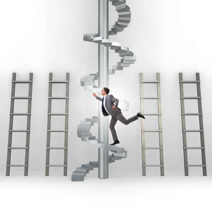 Photo pour Career progression concept with ladders and staircase - image libre de droit