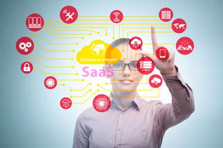 Photo pour Software as a service - SaaS concept with businesswoman - image libre de droit