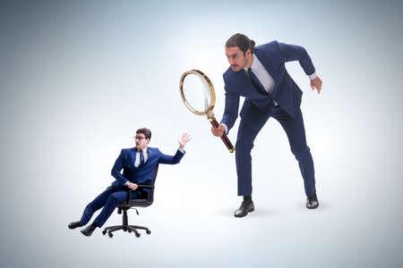 Photo pour Concept of employee monitoring by boss - image libre de droit