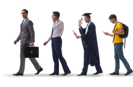 Photo for Business concept with man progressing through stages - Royalty Free Image