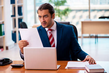 Photo pour Young handsome employee working in the office - image libre de droit