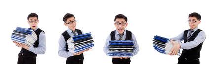 Photo pour Funny man with lots of folders on white - image libre de droit