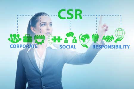 Photo pour Concept of CSR - corporate social responsibility with businesswo - image libre de droit