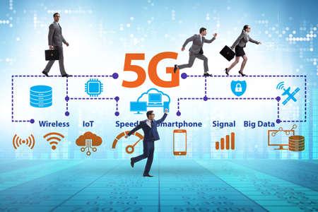 Photo pour Concept of 5g fast networks with business people - image libre de droit