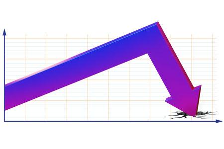 Foto de Concept of economic crisis with chart - 3d rendering - Imagen libre de derechos