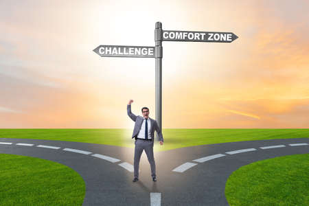 Photo for Businessman choosing between leaving comfort zone or not - Royalty Free Image