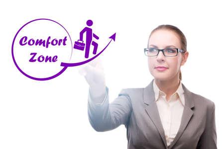 Foto de Businesswoman in the concept of stepping out of comfort zone - Imagen libre de derechos