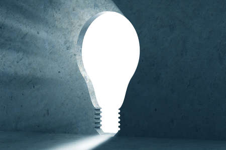 Photo pour New idea concept with lightbulb shaped hole in the wall- 3d rendering - image libre de droit
