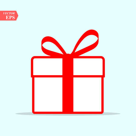 Illustration pour Illustration of red gift box icon on background. Christmas gift icon illustration vector symbol. - image libre de droit