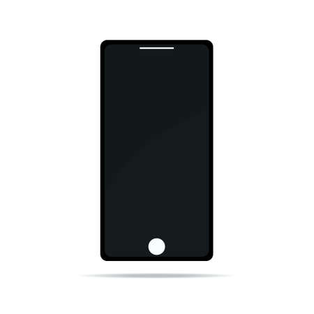 Illustration pour Black mobile phone with blank screen isolated on white background. Vector eps 10 illustration - image libre de droit