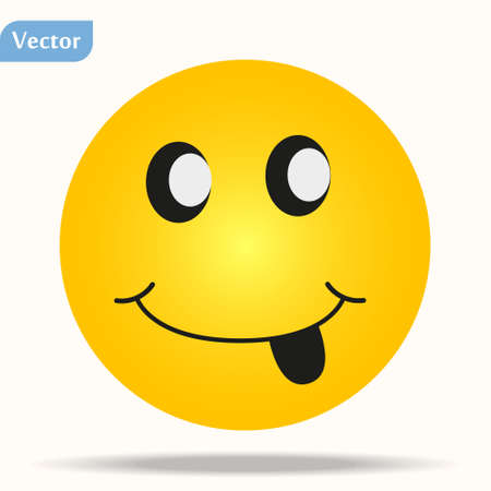 Illustration for Smiling emoticon with happy eyes and rosy cheeks eps10 - Royalty Free Image