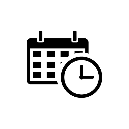 Calendar with a clock time tools vector icon