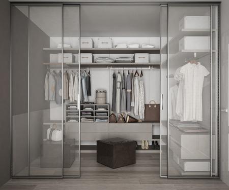 Photo pour Classic walk in closet with glass sliding doors - image libre de droit