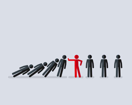 Illustration pour Vector illustration of stick figure stopping the domino effect with falling stick figures - image libre de droit