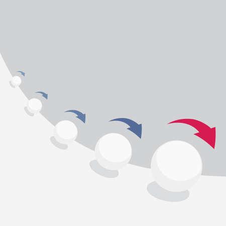 Ilustración de Vector illustration of snowball effect with arrows - Imagen libre de derechos
