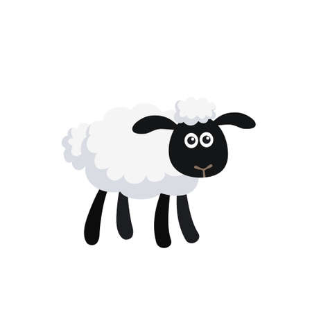 Illustration pour Vector illustration of standing cartoon sheep isolated on white background - image libre de droit