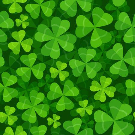 Ilustración de Vector seamless pattern with clover three and four leaves - Imagen libre de derechos