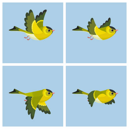 Ilustración de Vector illustration of cartoon flying European Siskin (male) sprite sheet. Can be used for GIF animation - Imagen libre de derechos