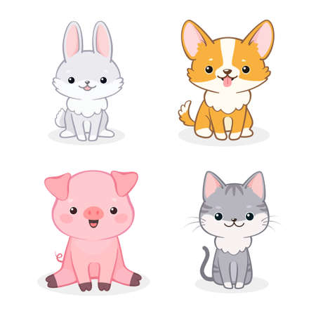 Photo pour Vector set of cute cheerful cartoon dog, piglet, cat and rabbit. Isolated on white background. Can be used for baby shower invitation and greeting cards - image libre de droit