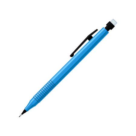Illustration pour Mechanical pencil in blue plastic case with eraser - image libre de droit