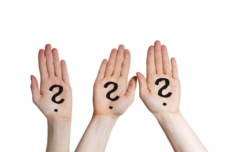 three hands with question marks on it, isolated
