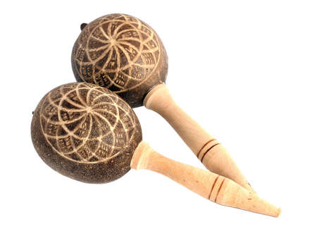 Maracas, a musical instrument on white background.