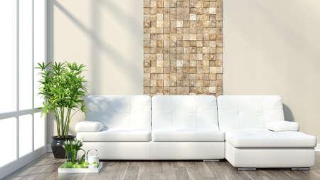 Foto de Render modern interior with sofa and a large window - Imagen libre de derechos
