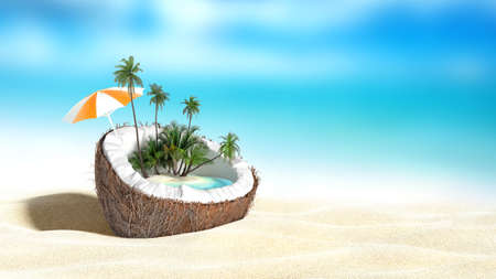 Photo pour chopped coconut on sea-beach background 3D rendering - image libre de droit