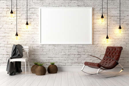 Bright interior with frame in a modern style . 3D render