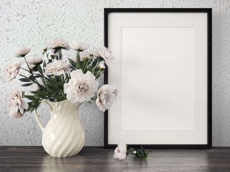 Photo pour Empty modern style frame on composition wall as concept - image libre de droit