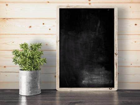 Photo pour Empty black chalkboard on composition wall as concept 3D render - image libre de droit