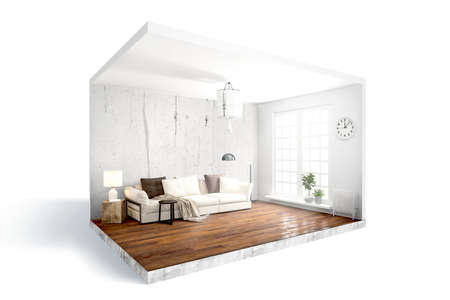 Photo pour Modern bright interior . 3D rendering - image libre de droit