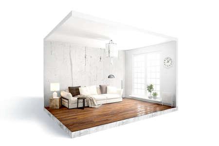 Foto de Modern bright interior . 3D rendering - Imagen libre de derechos