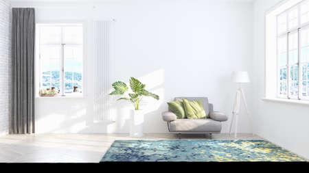 Photo pour Living room interior in scandinavian style . 3D rendering - image libre de droit