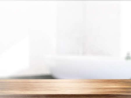 Photo pour Table on defocuced interior background. 3D rendering - image libre de droit