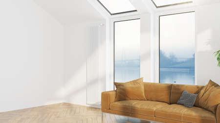 Photo pour Modern design living room interior with beautiful view . 3D rendering - image libre de droit