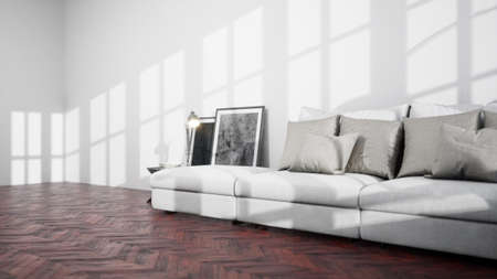 Foto de Modern design living room interior with beautiful view . 3D rendering - Imagen libre de derechos